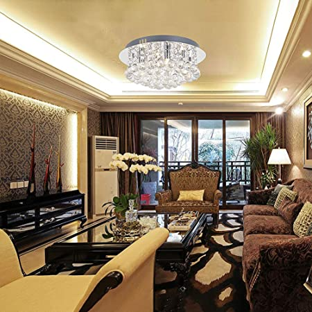 Round Crystal Chandelier Light Clear Glass Droplet Elegant Ceiling Lights With 4 Lights Small Led Pendant Lamp Fixture For Living Room Dining Room Bedroom Lounge Amazon Co Uk Kitchen Home