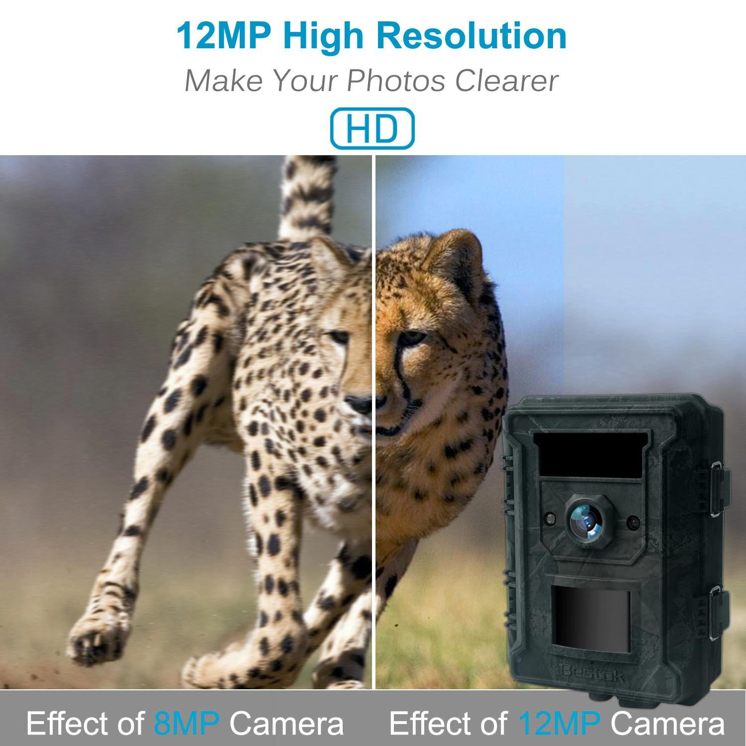 Bestok Trial Camera 12MP 120° HD Wildlife Hunting Cam with Infrared LEDs Night Vision 65 ft/20m 2.4'' LCD Waterproof IP65 Game Camera for Wildlife & Home Security by Bestok (Image #2)