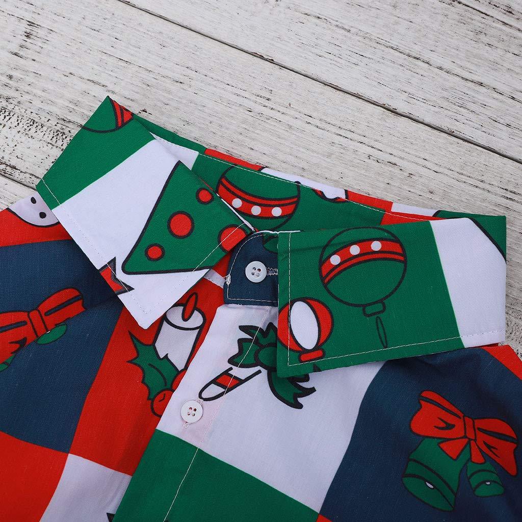 Mens Tops Christmas Snowflake Bell Plaid Beautiful Diversified Gift Print Long Sleeve Shirt