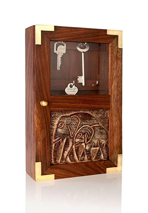 Handmade Decorative Wooden Wall Mounted Key Cabinet With Glass Panel Door U0026  Elephant Carvings