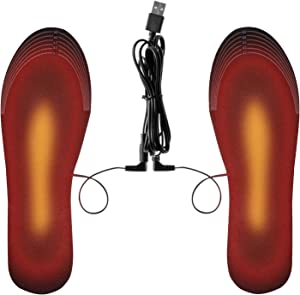 Heated Insoles for Men and Women, Ferfil Electric Heated Sole Inserts with Trimable Size to Compatible Most Foot Shoes for Skiing Hunting Hiking Camping Outdoor Sports Size: US 8-11