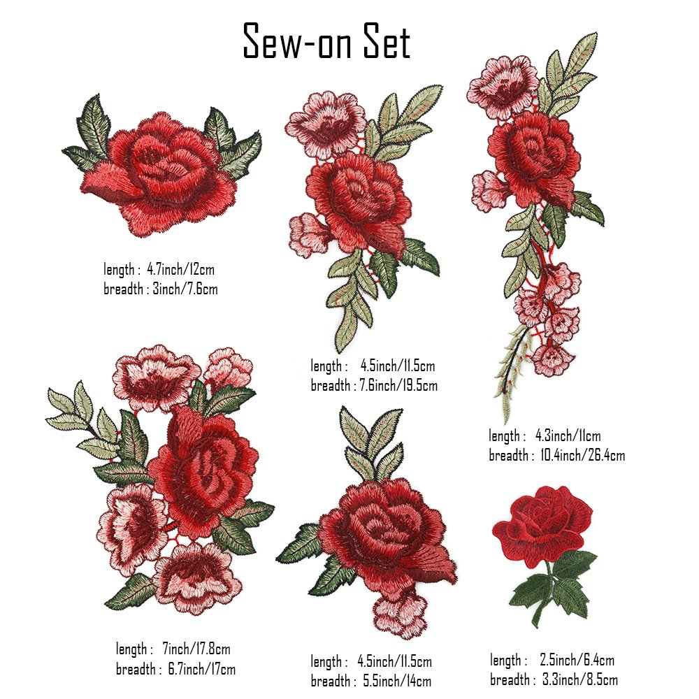 Jeans OPount 19 Pieces Embroidered Patches Sew On Patch Applique and Iron On Rose Patch Embroidered Flower for DIY Clothing