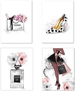 Lodintech Fashion Women Canvas Wall Art Girls Bedroom Wall Decor Pink Flower Perfume Art Prints Modern Posters Living Room Women Office Decorations Handbags High Heels Paintings Unframed,8x12'' 4PCS