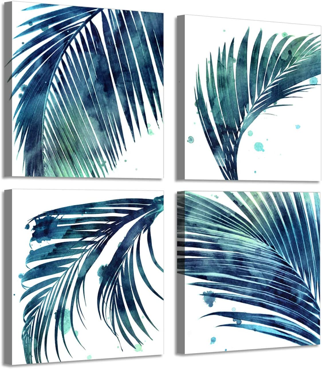 Nature Botanical Leaf Artwork Paintings: Paradise Palm Graphic Print on Canvas, 4 Piece Wall Art for Home