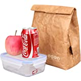 SANNE Lunch Bag Box Cooler Tote Bag Insulated Retro Style Holiday Gift Set For Girls Kids Women Adults Boys Breastmilk Reusble Brown Paper Leakproof Environmental Handle Bag Go Work Picnic(Brown)