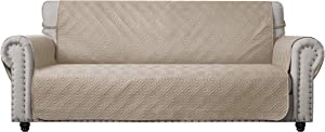 CHHKON Sofa Cover with Anti-Skip Dog Paw Print 100% Waterproof Quilted Furniture Protector Sofa Slipcover for Children, Pets for Leather Couch (Beige, Sofa)