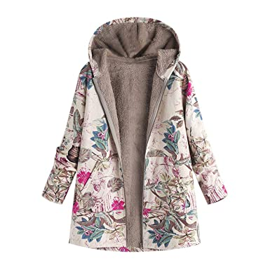 Winter Coat Women 2018 Parka Vintage Floral Print Hooded Warm Oversize Parka Femme Jacket Manteau Femme