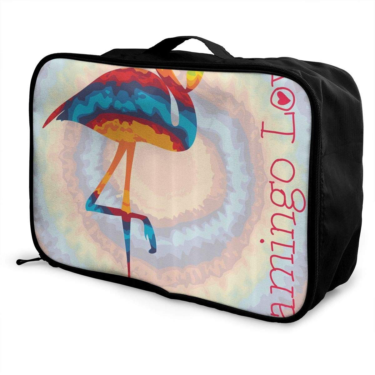 Flamingo Single Rainbow Color Tie Dye Travel Lightweight Waterproof Foldable Storage Carry Luggage Duffle Tote Bag Large Capacity In Trolley Handle Bags 6x11x15 Inch