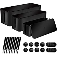 [Set of 3] Cable Management Boxes Organizer, System to Cover and Hide & Power Strips & Cords,Large Storage Wires Keeper…