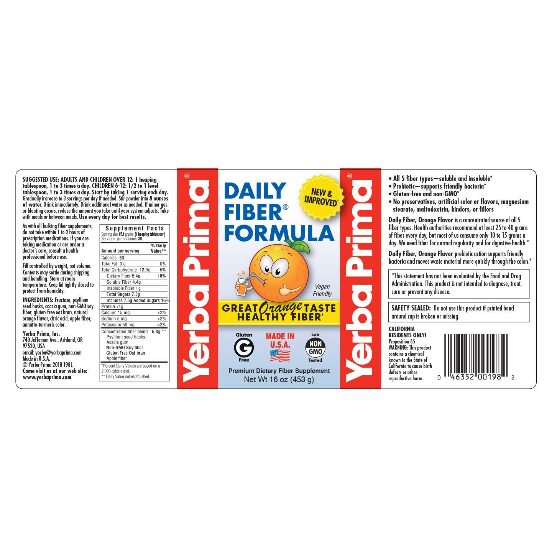 Yerba Prima Daily Fiber Formula, Orange Flavor, 16 oz New Formula – Pack of 2