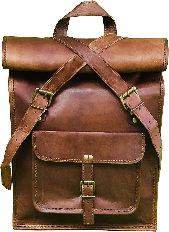"""16"""" Brown Leather Backpack Vintage Rucksack Laptop Bag Roll Top College Bookbag Comfortable Lightweight Travel Hiking/picnic For Men"""