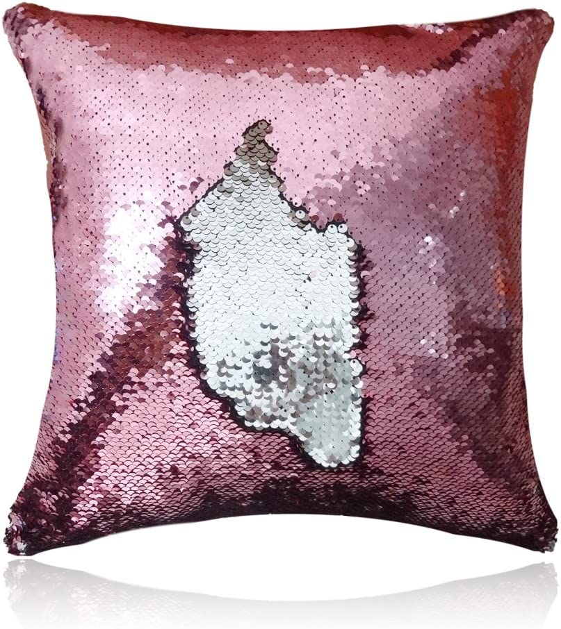 San Tungus 16 x 16 inch Square Christmas Sparkly Sequin Office Pillow Cases Sequin Cushion Covers Car Reversible Mermaid Throw Pillow Cushion with Insert for Home Decoration,Rose Pink and Silver