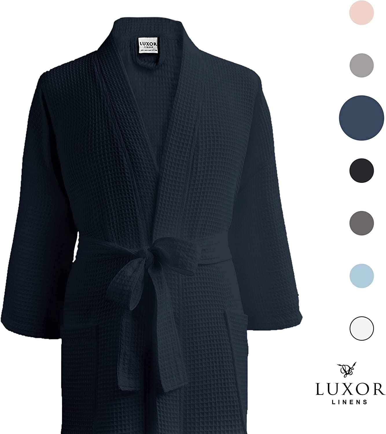 Navy One Size Fits Most Unisex//One Size Fits Most Waffle Bathrobe 100/% Egyptian Cotton Luxor Linens LUXA House