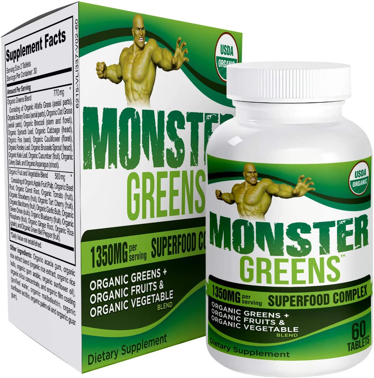 Monster-Greens All-in-1 Organic Superfood/Greens Supplement Pills - Healthy Greens - 60 Tablets