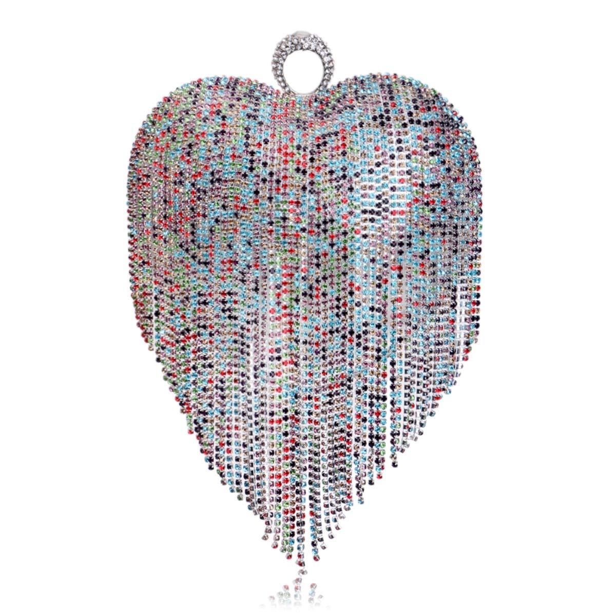 MKHDD hjärtformade diamanter aftonväskor kedja axel plånbok tag pärlor liten plånbok fingerring strass bröllop kvinnor handväska Flerfärgade