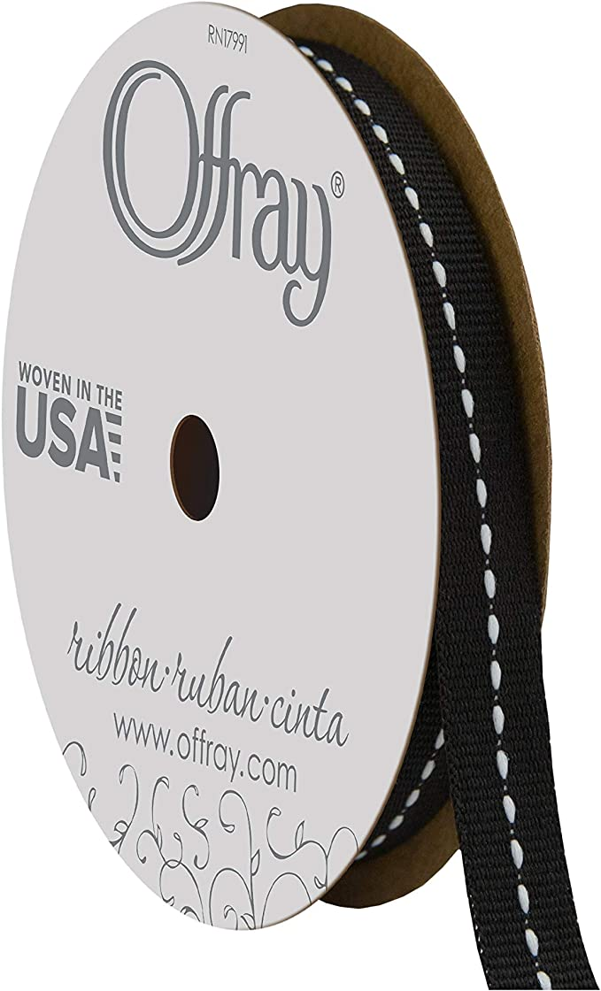 Offray, Black & White Center Stitch Craft Ribbon, 3/8-Inch x 12-Feet