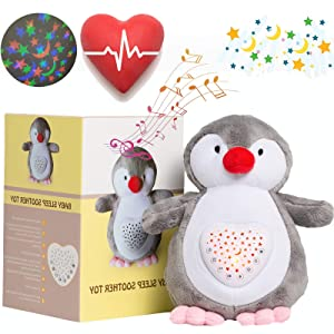 Heartbeat Stuffed Animal with Mom's Heartbeat Sound, White Noise, Sleep Music, Star Projector for New Baby Newborn New Parent Toddler Baby Sleep