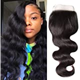 Ali Julia 10A Brazilian Virgin Body Wave Weave Lace Closure 4X4 Free Part 100% Unprocessed Human Hair Extensions Natural Colo