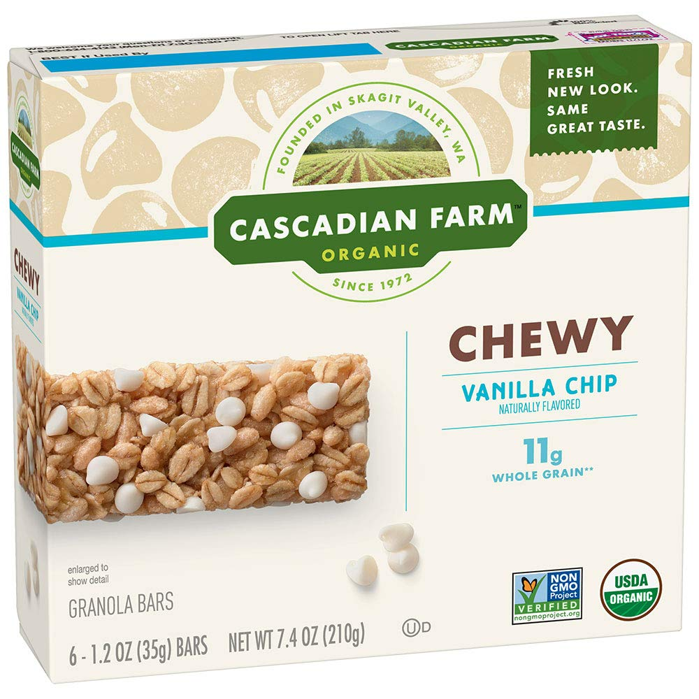 Cascadian Farm Organic Granola, Chewy Vanilla Chip, 6 pack 1.2 oz bars