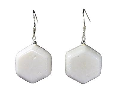 2c993a54d9ce Pendientes de coral blanco en forma de hexágono pendiente 925er de plata   Amazon.es  Joyería