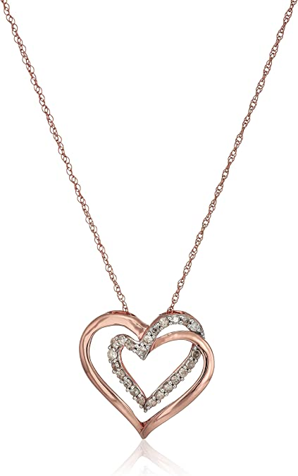 Fashion 925 Sterling Silver Double Heart Pendant Beautiful women Necklace Charm