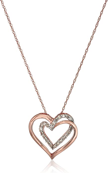 18 Rhodium Plated Sterling Silver Graduated CZ Dangling Interlocking Heart Pendant Necklace