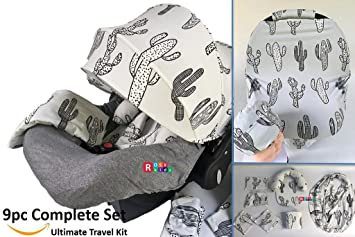 9pc Baby Boy Girl Ultimate Set Of Infant Car Seat Cover Canopy Headrest Blanket Hat