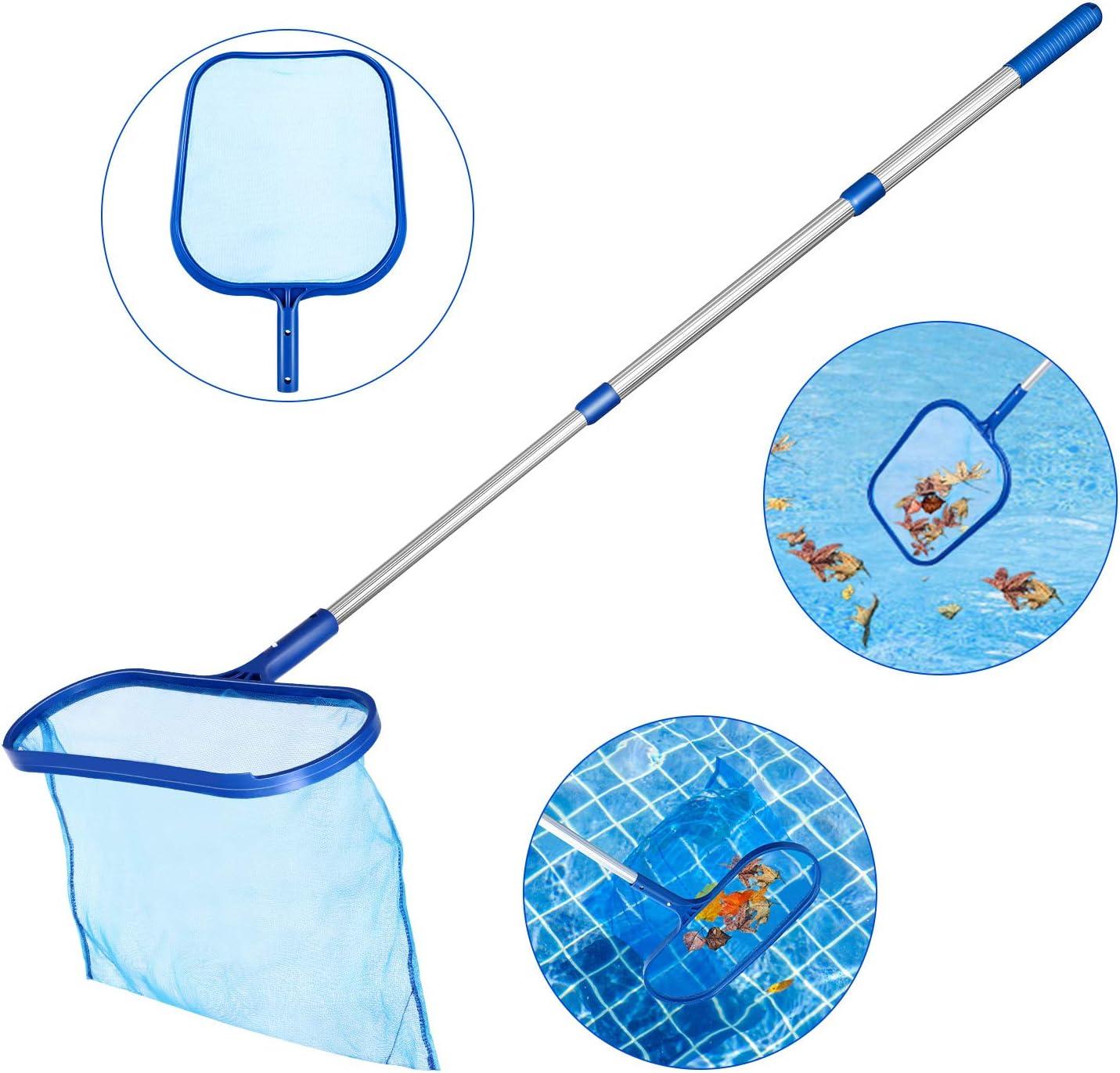 Tencoz Recogehojas para Piscinas, Pool Net Leaf Skimmer, Red para Piscinas con Poste de Aluminio de 1,2 m Recogehojas Piscina, Limpia Piscinas Red (2)