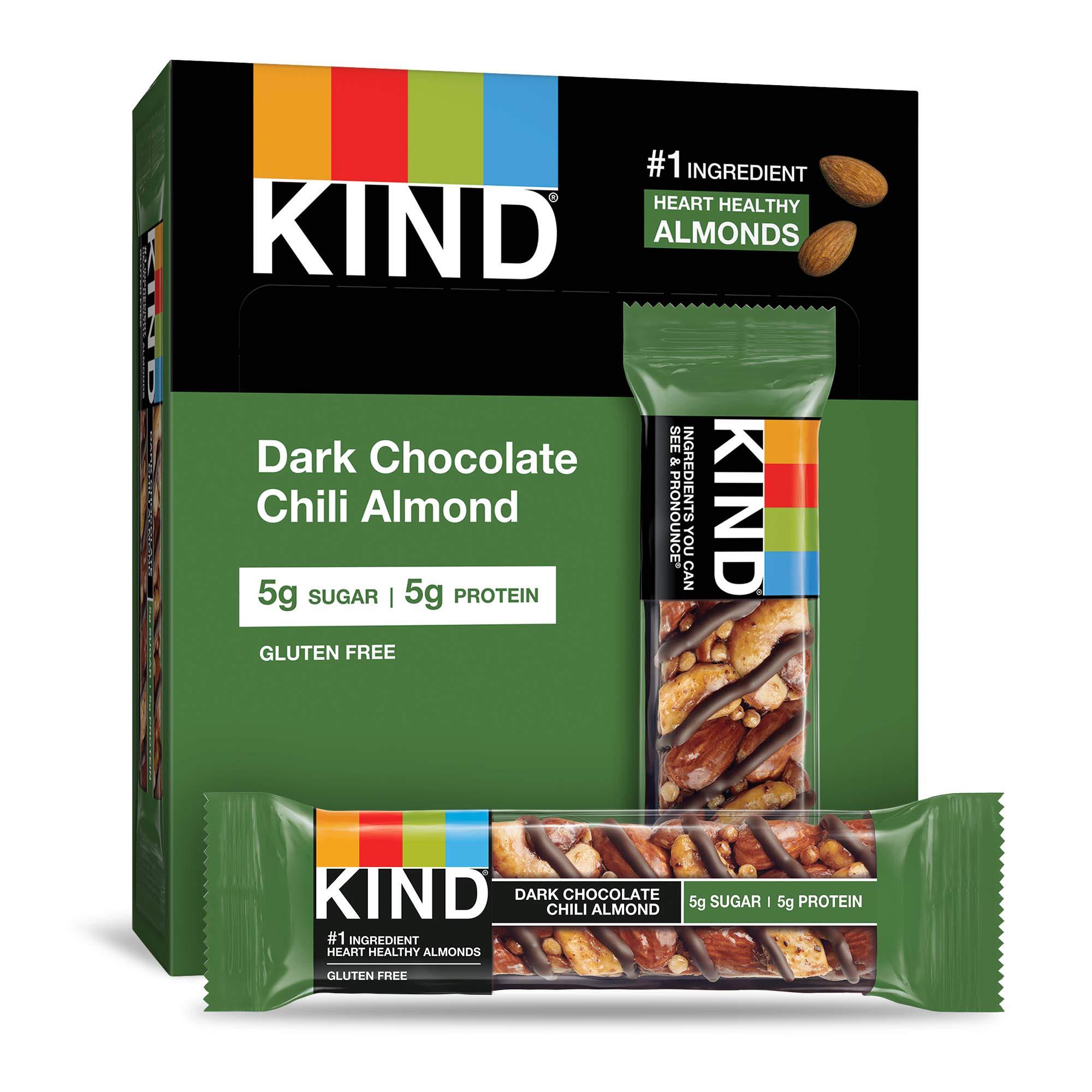 KIND Bars, Dark Chocolate Chili Almond, Gluten Free, Low Sugar, 1.4oz, 12 Count by KIND