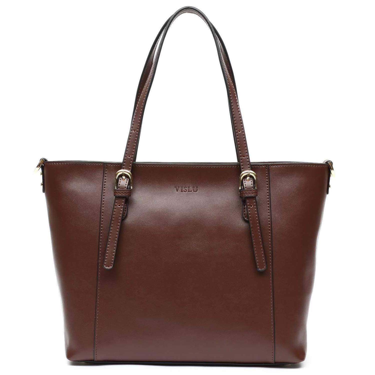 Coffee Vislu Simple and Leisure Style Leather Work Tote Shoulder Bag