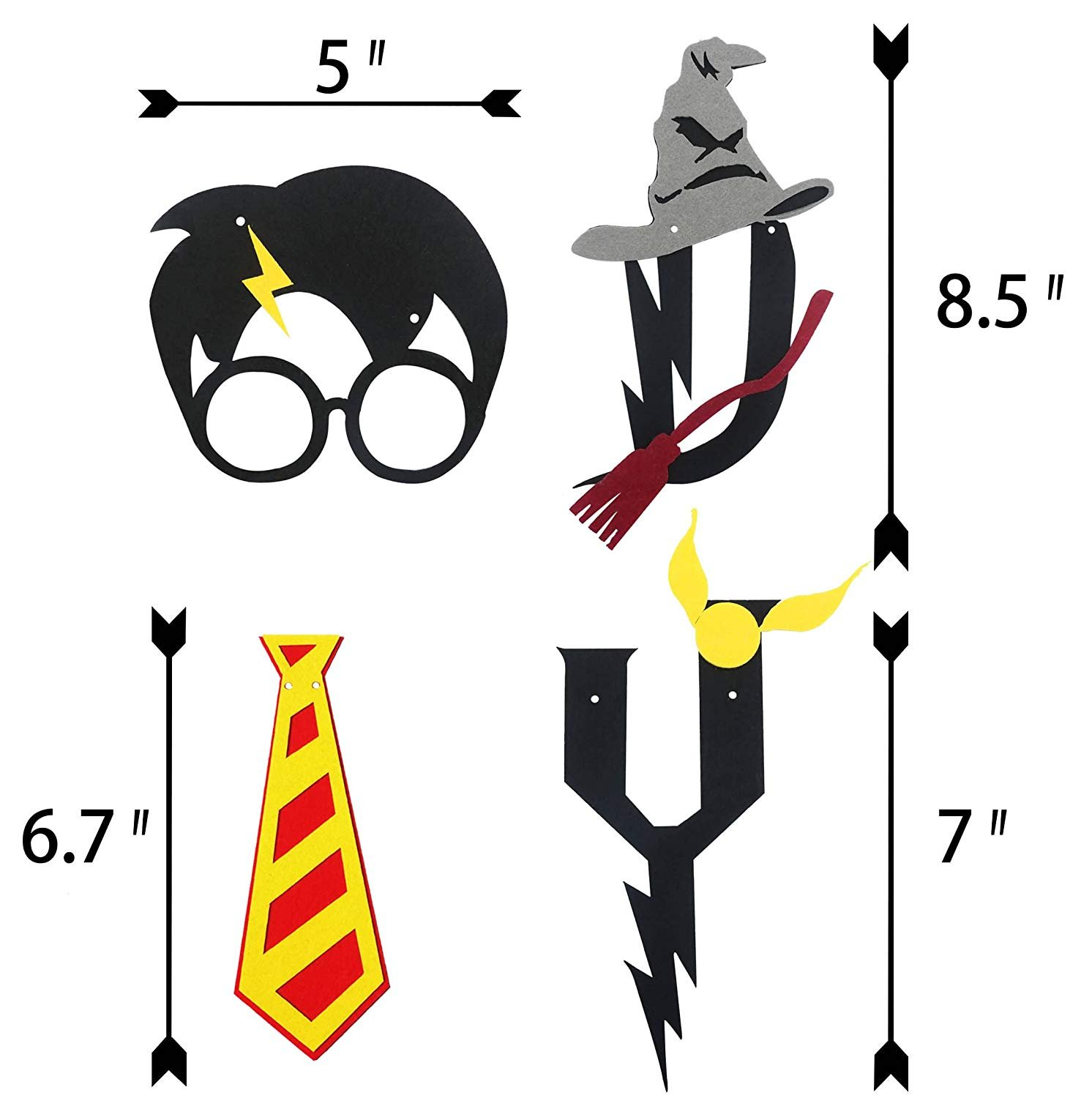 DK Harry Potter Party Supplies – Happy Birthday Banner Felt Garland Party Decoration, Black
