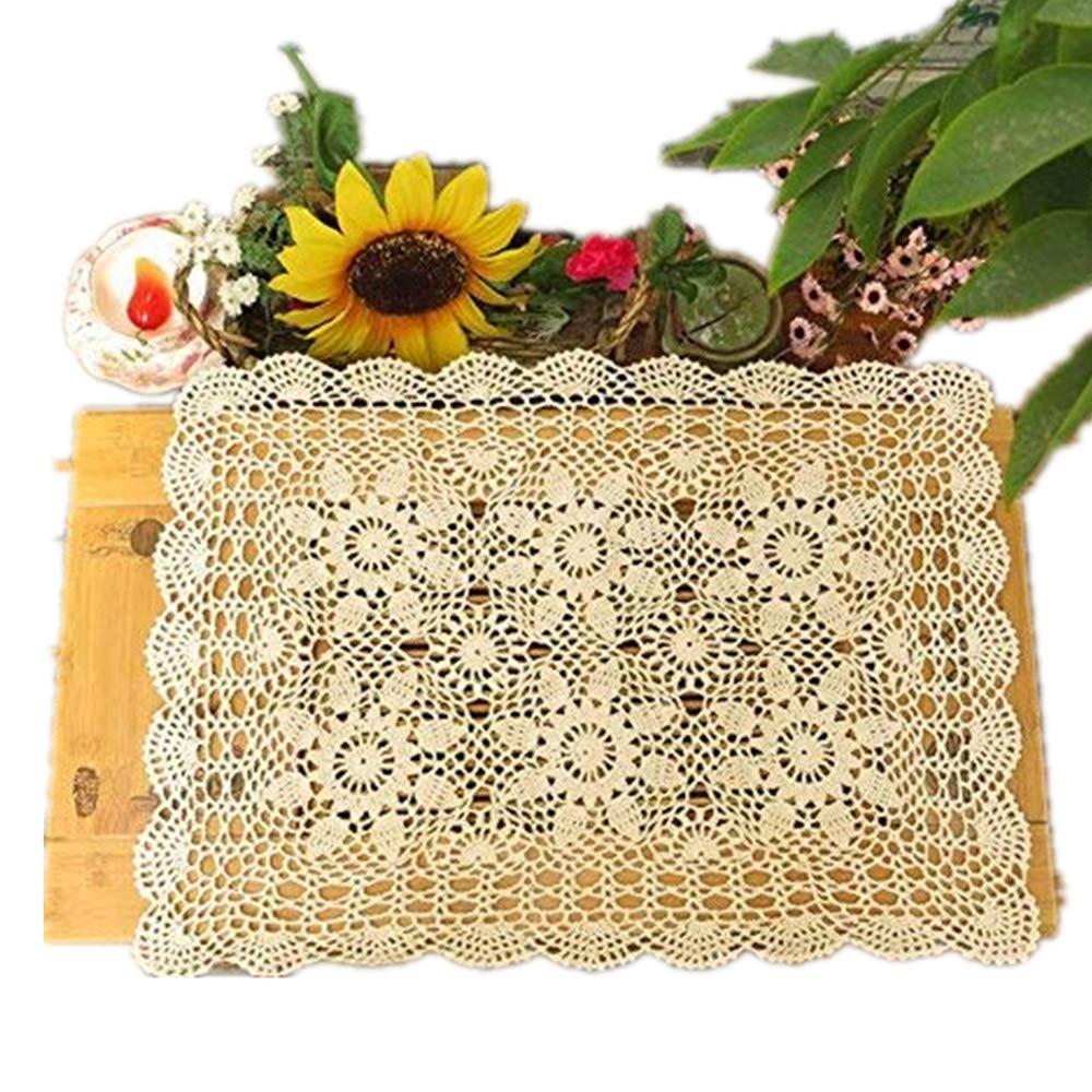 Yizunu - Mantel Rectangular de algodón con Encaje de Ganchillo, Beige 40x60cm: Amazon.es: Hogar