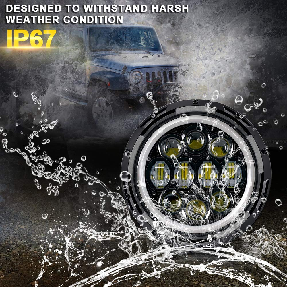 DRL 2 Pack) Amber Turn Lights With Halo Hi//Lo Beam Daytime Running Light TURBO SII DOT Approved Pair 7 Inch 75W Round LED Projector replacement Headlights For Jeep Wrangler JK TJ LJ 1997-2017