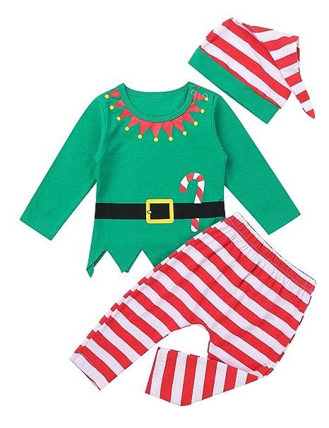 YiZYiF Disfraz Duende Elfo Bebé Pijamas Navideños Niños Niñas Conjunto de Navidad Algodón Suave 3Pcs Unisex Traje Navidad Infantil Camisa Pantalones ...
