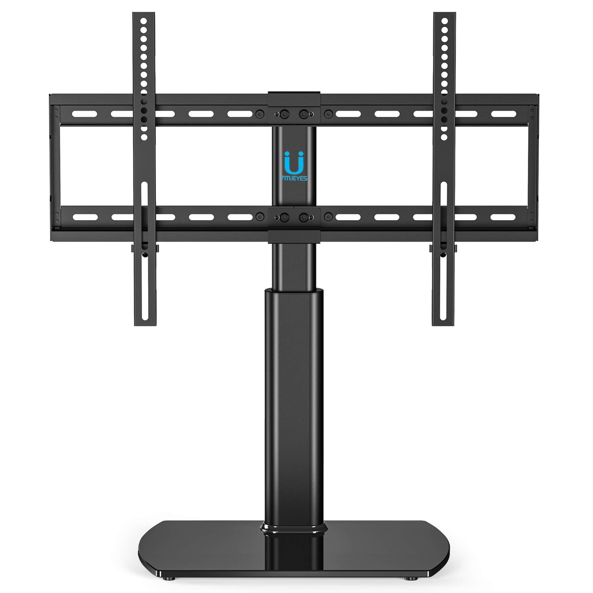 FITUEYES Universal TV Stand/Base Tabletop TV Stand with Wall Mount for 32 to 65 inch Flat Screen 3 Level Height Adjustable, Heavy Duty Tempered Glass Base, Holds up to 110lbs Screens TT107001GB by FITUEYES