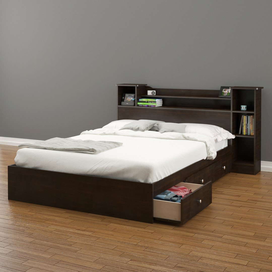 Amazon Com Nexera Pocono Inch Storage Bed Frame Full