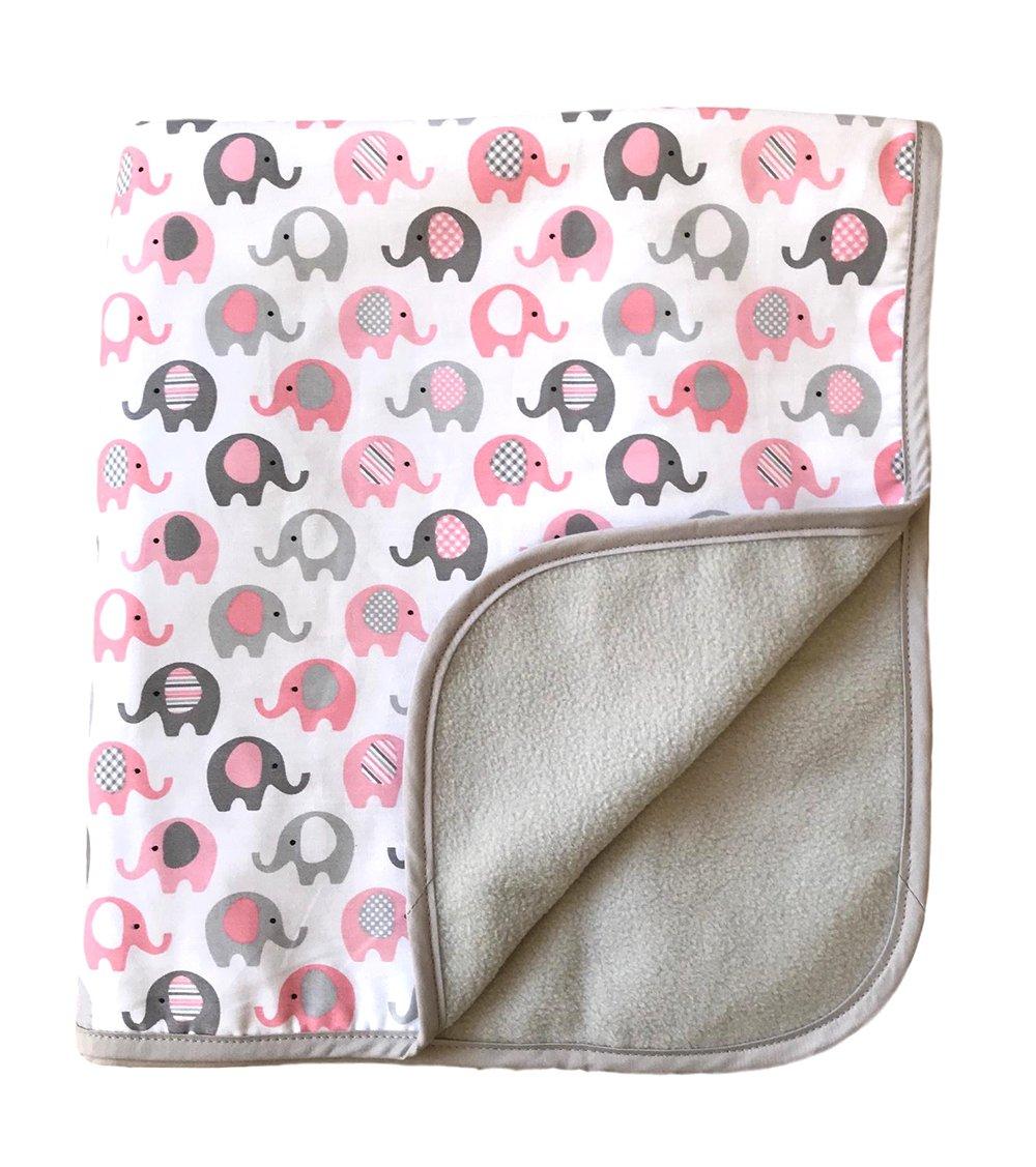 Vera Elephant Cotton Fleece Baby Blanket (Petal Grey) 30''x40''