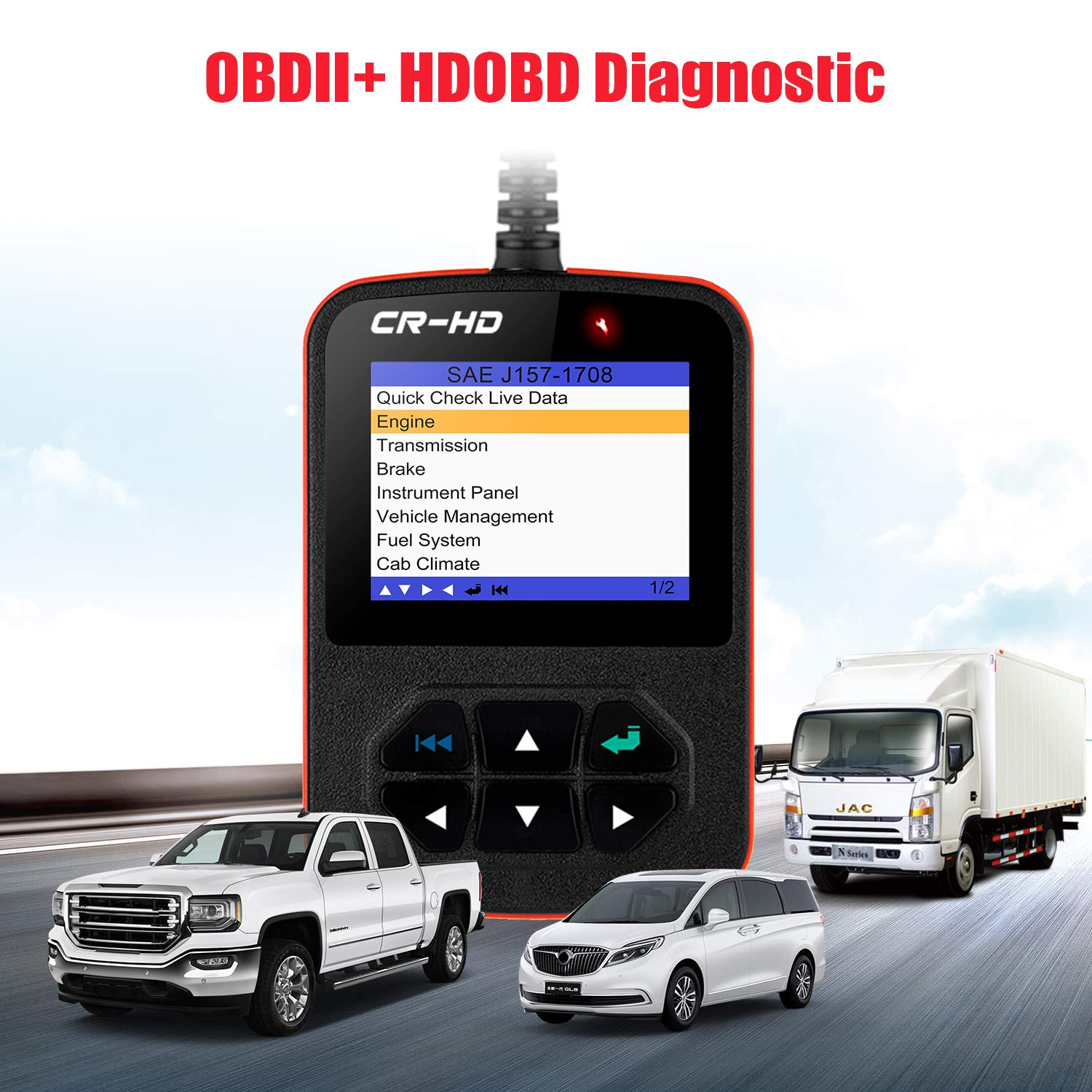 LAUNCH CReader HD Plus Heavy Duty Truck Obd2 Diagnostic Reader OBDII Scan  Tool CRHD Truck Code Scanner With OBD-II Communication Modes 1-10 and  J1587,