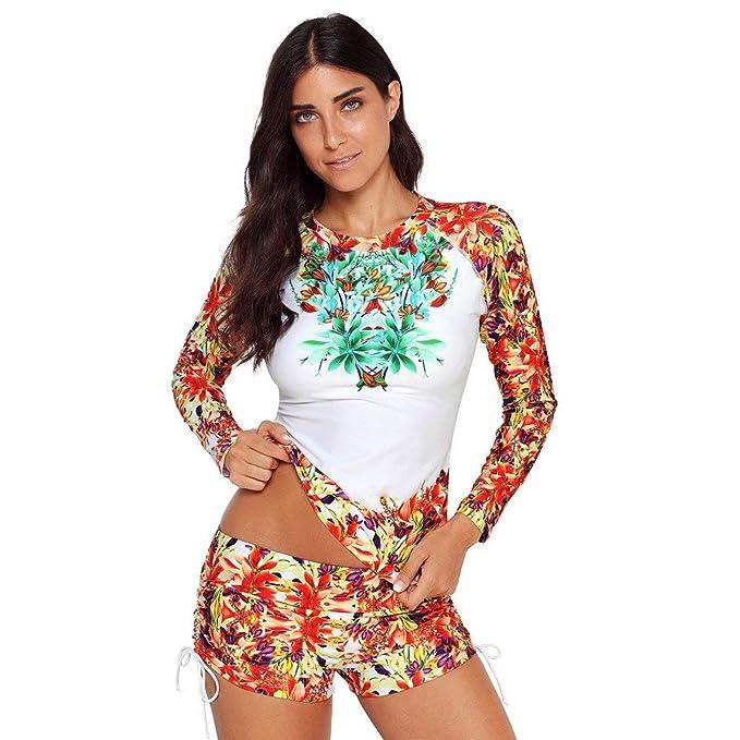 POLP Traje de baño Surfeando Mujer Estampado Floral Secado rápido Traje de baño de Surf Deportivo