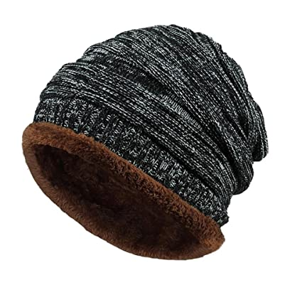 e94873f3 Hemlock Outdoors Warm Hats Men, Women Knit Hats Beanie Cap Thick Winter  Snow Hats (Black)