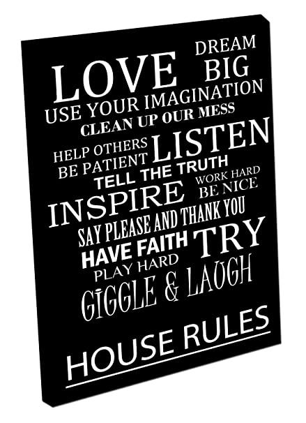 Picture on CANVAS Wall Art print quote HOUSE RULES LOVE DREAM Black ...