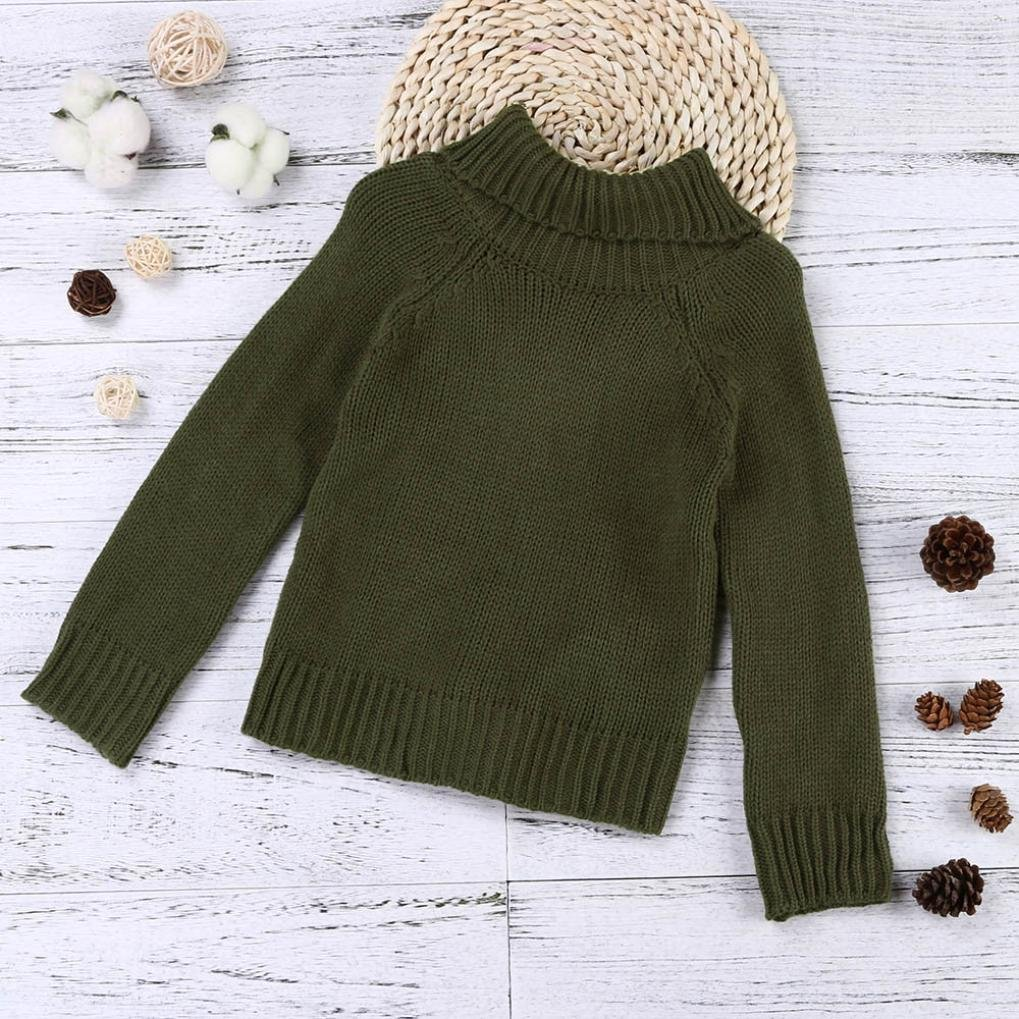 Clode for 1-10 Years Old Fashion Toddler Girls Kids Baby Long Sleeve Thick Turtleneck Knit Sweater Pullover Warm Autumn Winter Clothes