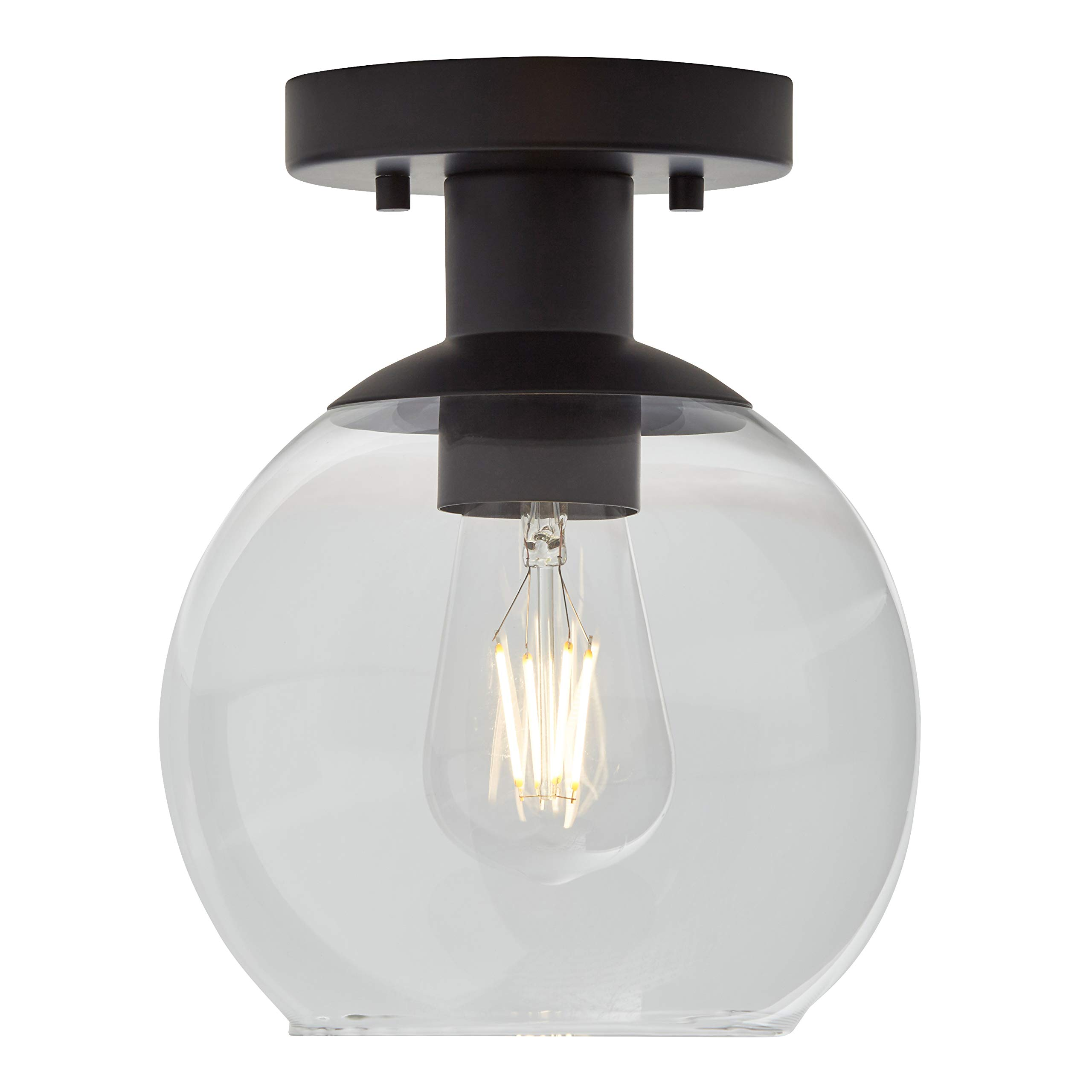 Rivet Mid-Century Flush-Mount with Bulb, 8.875''H, Black by Rivet (Image #3)
