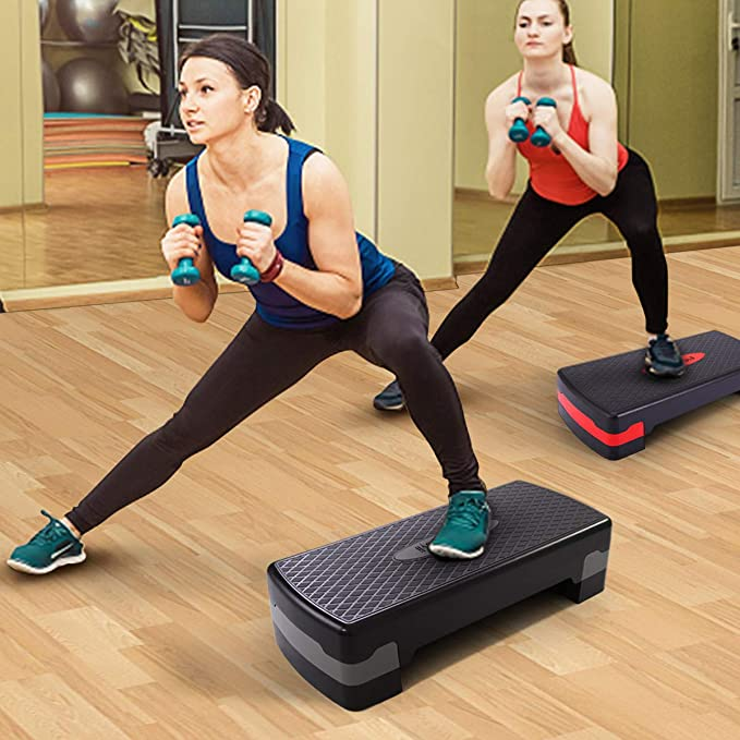 Vinteky 2 Level Adjustable Aerobic Fitness Yoga Step With Gym Exercise Training Guide Chart in 4 Colors