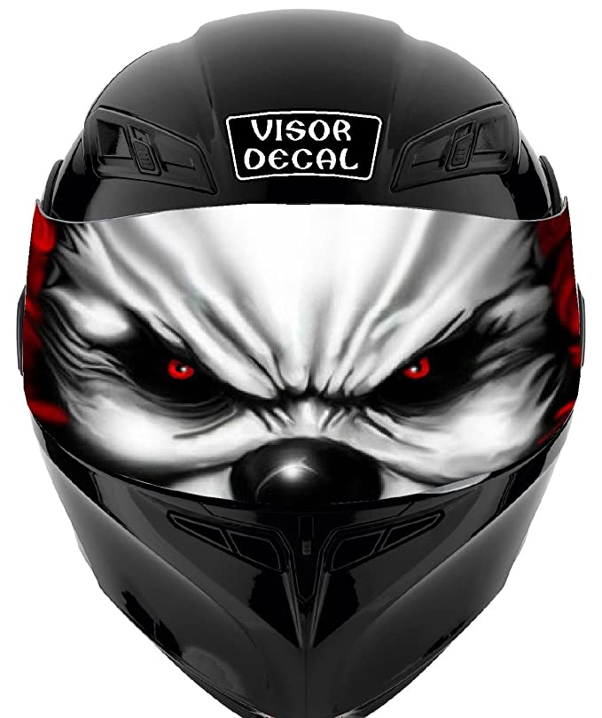 V14 Evil Clown VISOR TINT DECAL Graphic Sticker Helmet Fits: Icon Shoei Bell HJC Oneal Scorpion AGV