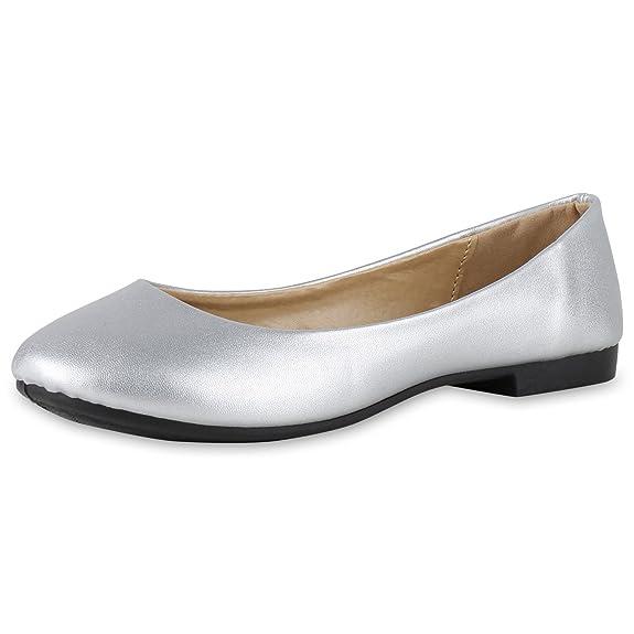 Klassische Damen Ballerinas Flats Schleifen Slipper Damen Ballerinas Silber 36 Jennika napoli-fashion XfkPM0aj