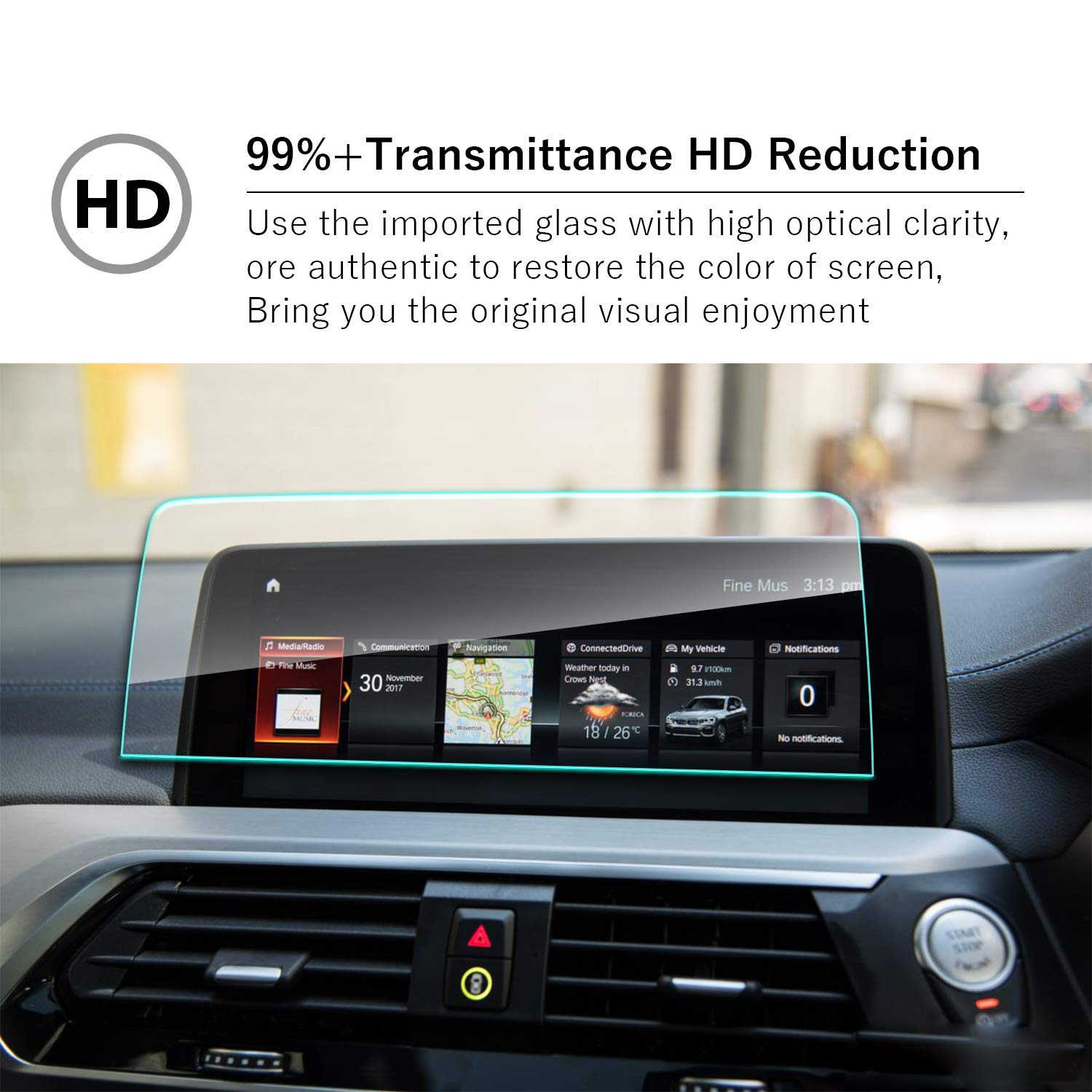 YEE PIN 2019 X4 X3 G02 10.25Inch Protective Film High Definition Tactile Silky Slippage Automatic Adsorption Scratch Resistance /& Waterproof Coating Layer Navigation Film