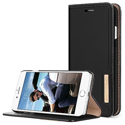 wholesale dealer 8c720 f175c iPhone 8 Plus Case, iPhone 7 Plus Wallet Case, BENTOBEN Genuine Leather 3  Card Slots Cash Pocket Magnetic Closure Slim Folio Flip Kickstand Support  ...