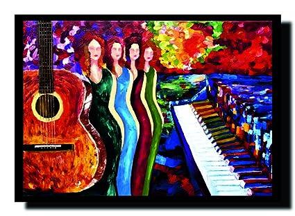 ravgar moderna hermosa mujer – Guitarra – arte Musical Piano lienzo pintura pared arte [14
