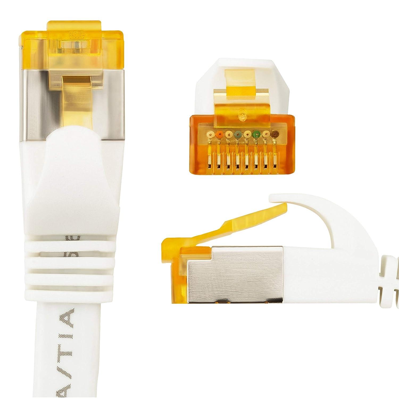 M/ódem Conector RJ45 para Router TV LAN Patch Cable SEBSON 2X Cable de Red Ethernet Cat 7 U-FTP apantallado 10Gbps Plano 10m Ordenador